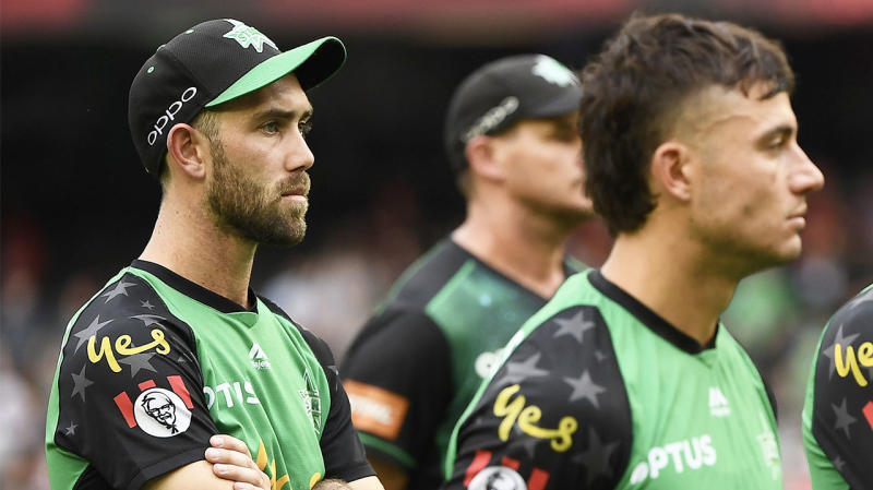 Glenn Maxwell and Marcus Stoinis look disappointed after losing the BBL final.