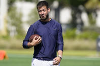 Pittsburgh quarterback Jeff George Jr. waits for the quarterback drills to start during an NFL football mini combine organized by House of Athlete, Friday, March 5, 2021, in Fort Lauderdale, Fla.. (AP Photo/Marta Lavandier)