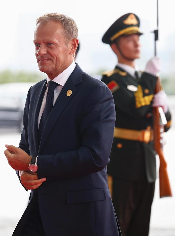 """European Council President Donald Tusk said on the first day of the G20 summit that Europe was """"close to limits"""" on its ability to accept new waves of refugees (AFP Photo/Rolex Dela Pena)"""