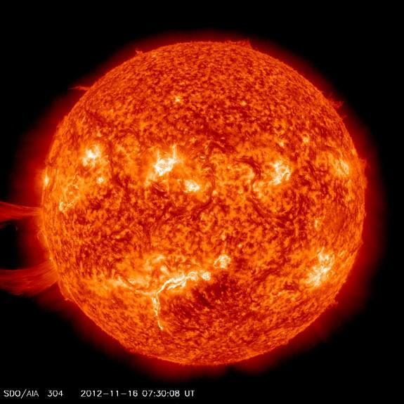A giant solar prominence erupts from the sun on Nov. 16, 2012, in this image captured by NASA's sun-watching Solar Dynamics Observatory. The solar eruption was not aimed at Earth.