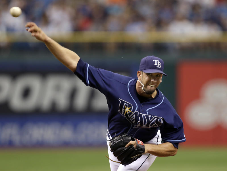 Tampa Bay Rays starting pitcher James Shields delivers to the New York Yankees during the first inning of a baseball game Monday, Sept. 3, 2012, in St. Petersburg, Fla. (AP Photo/Chris O'Meara)