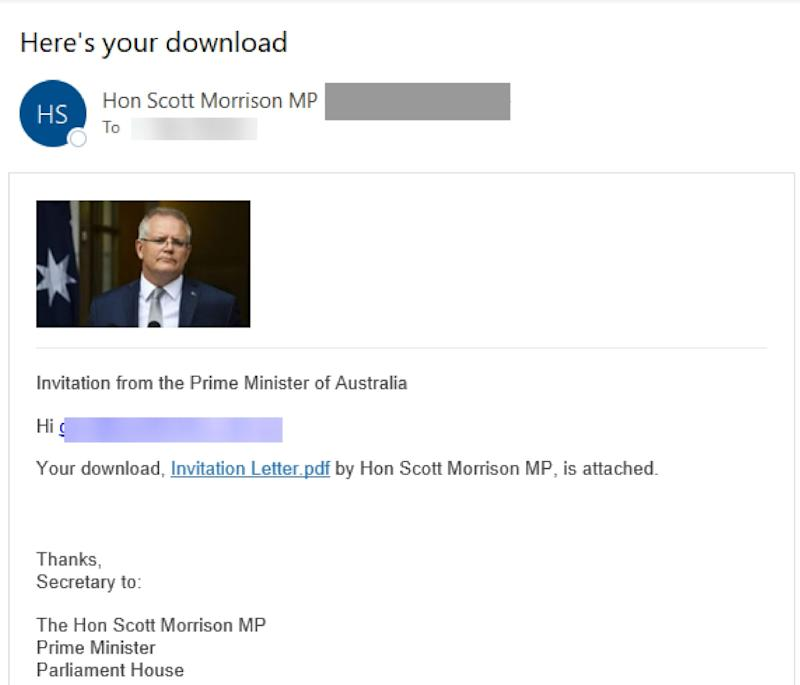 Scott Morrison scam email, showing a picture of the prime minister and the invitation letter link.