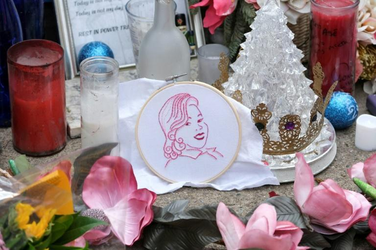 A makeshift memorial at the demonstration marking the one-year anniversary of Breonna Taylor's shooting death by police
