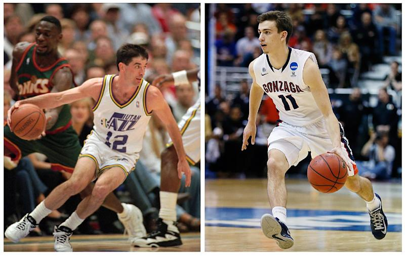 In this photo combo, Utah Jazz guard John Stockton, left, drives towards the basket during an NBA basketball game, Thursday, May 30, 1996, in Salt Lake City; while at right, Gonzaga's David Stockton, John's son, brings the ball up the court during an NCAA college basketball game, Thursday, March 21, 2013, in Salt Lake City. Family connections are a big part of the 2013 NCAA college basketball tournament. (AP Photo/Douglas C. Pizac, George Frey)