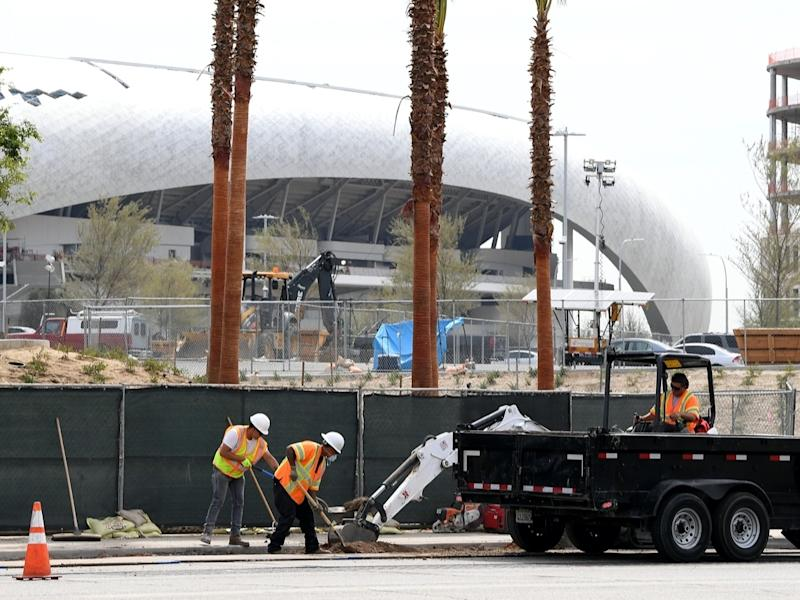 Work has been halted at SoFi Stadium after an iron worker fell to his death Friday morning.
