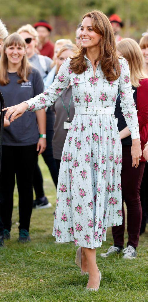 """<p>The Duchess of Cambridge stunned in a light blue and pink shirt dress at a """"Back to Nature"""" event in June 2019. The event was held at RHS Garden Wisley in Woking, England. </p>"""