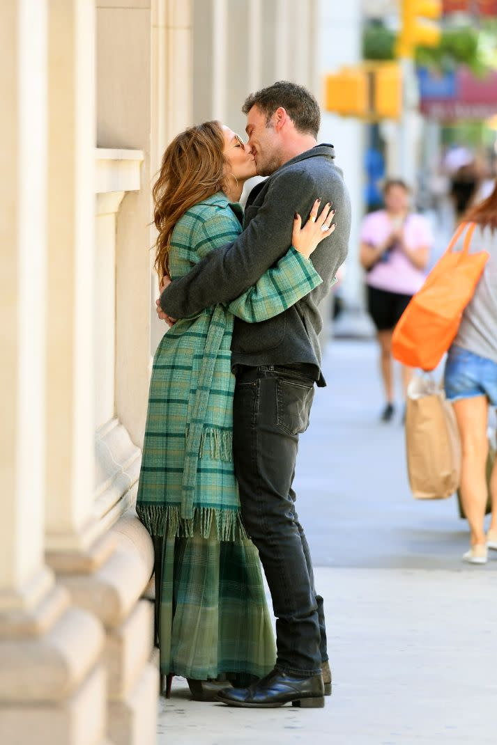 Jennifer Lopez and Ben Affleck head out for a walk in Madison Square Park in New York, Sept. 26. - Credit: MEGA