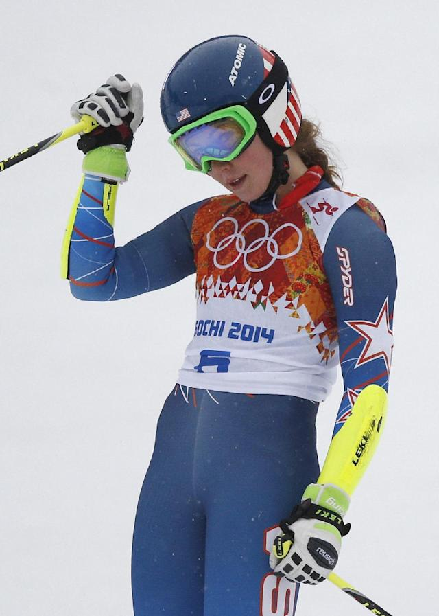 United States' Mikaela Shiffrin pauses in the finish area after completing the first run in the women's giant slalom at the Sochi 2014 Winter Olympics, Tuesday, Feb. 18, 2014, in Krasnaya Polyana, Russia. (AP Photo/Christophe Ena)