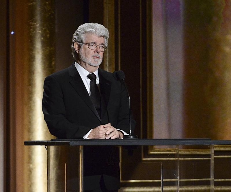 Producer George Lucas speaks at the 2013 Governors Awards on Saturday, Nov. 16, 2013 in Los Angeles. (Photo by Dan Steinberg/Invision/AP)
