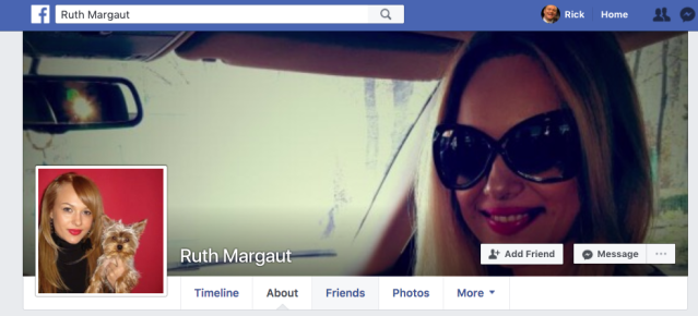 "The profile picture for ""Ruth Margaut"" appears to belong to a Romanian actress. This account has no friends and provides no personal information — classic signs of a fake."