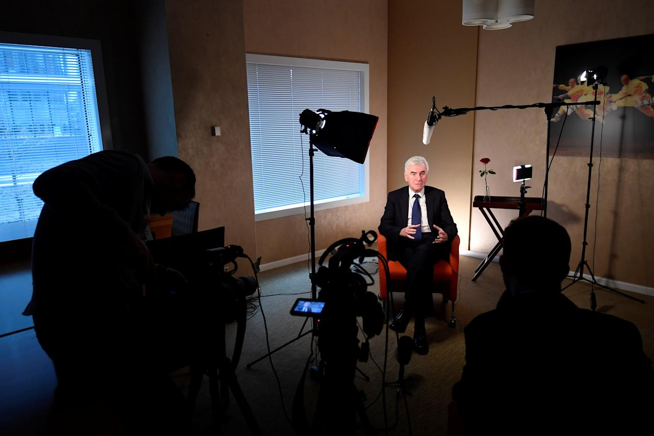 Britain's Shadow Chancellor of the Exchequer, John McDonnell, speaks during an interview, following a Reuters Newsmaker event in London, Britain November 21, 2018. REUTERS/Toby Melville