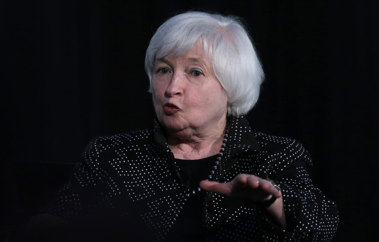 <p> FILE - In this Friday, May 27, 2016, file photo, Federal Reserve Chair Janet Yellen speaks while being interviewed as part of a conversation at a Radcliffe Day event at Harvard University in Cambridge, Mass. On Wednesday, Sept. 21, 2016, the Federal Reserve issues a statement and updates its economic forecasts, and Chair Janet Yellen holds a news conference. The Fed is expected to leave rates alone, though a rate hike isn't impossible. (AP Photo/Charles Krupa, File) </p>
