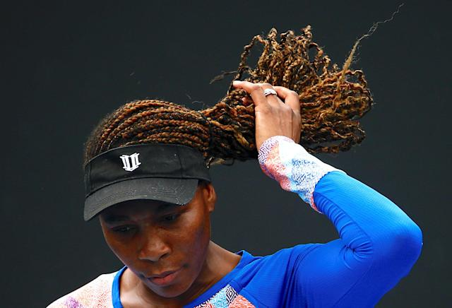 Tennis - Australian Open - Melbourne Park, Melbourne, Australia, January 11, 2018. Venus Williams of the USA adjusts her hair during a practice session ahead of the Australian Open tennis tournament. REUTERS/David Gray