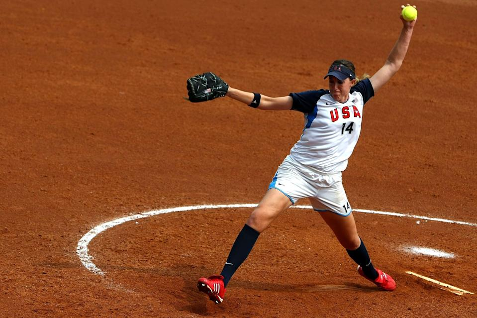 """<p>Abbott made history on August 17, 2008, by throwing the <a href=""""https://www.nbcolympics.com/videos/beijing-2008-monica-abbott-pitches-perfect-game-vs-ned"""" class=""""link rapid-noclick-resp"""" rel=""""nofollow noopener"""" target=""""_blank"""" data-ylk=""""slk:first perfect game"""">first perfect game</a> (no hits, walks, hit batters, or errors) in Olympic softball history. She struck out nine batters in the five-inning, 8-0 win against the Netherlands, which was shortened from the usual seven innings due to the Olympic mercy rule. The perfect game was nothing new for Abbott, who recorded six of them during her NCAA career, but to do it on the Olympic stage, when the pressure was highest, sent her to the history books.</p>"""