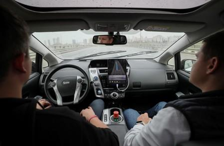 A view shows a self-driving car tested by Yandex company in Moscow