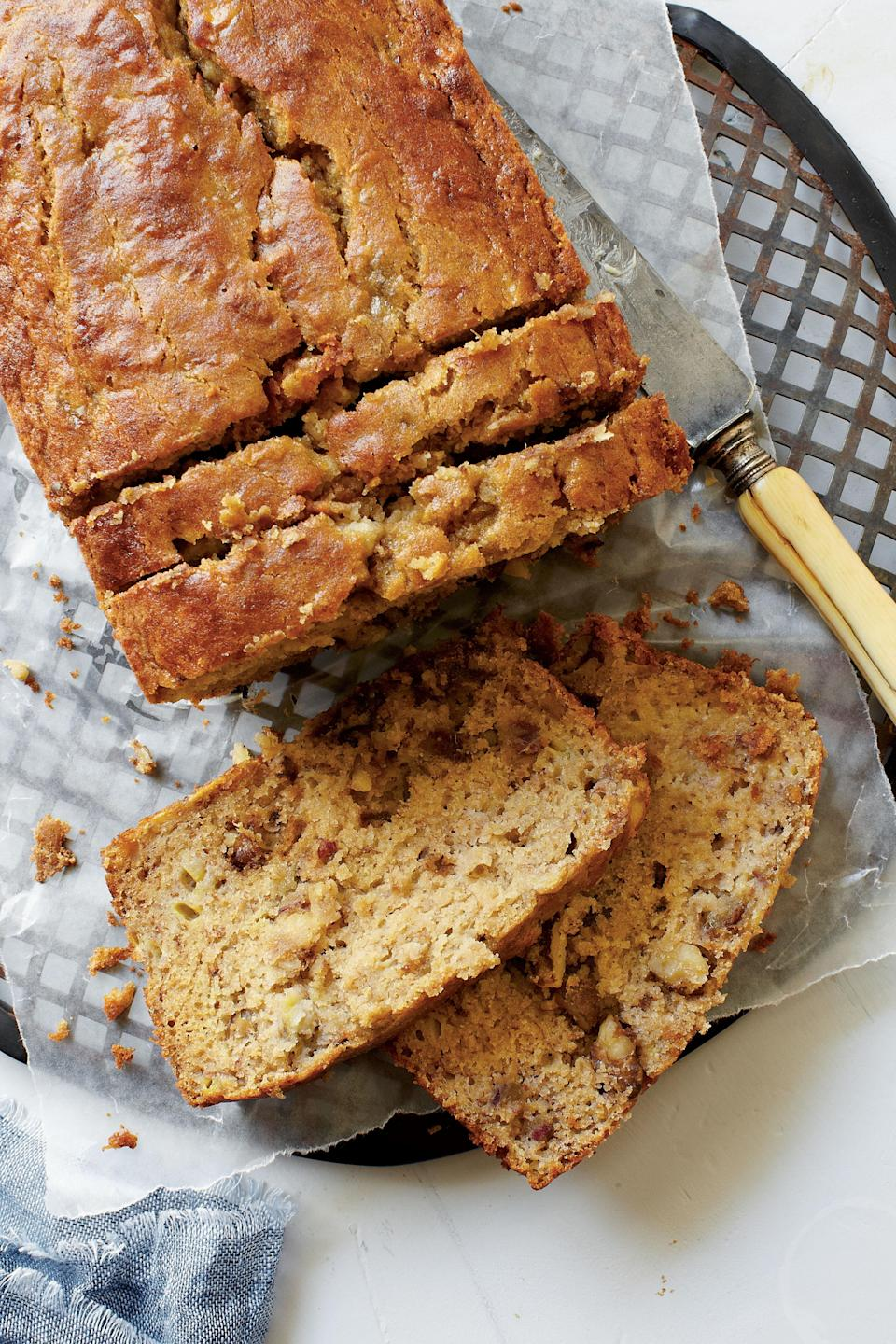 """<p><strong>Recipe:</strong> <a href=""""http://www.myrecipes.com/recipe/gluten-free-banana-bread-50400000125894/"""" rel=""""nofollow noopener"""" target=""""_blank"""" data-ylk=""""slk:Gluten-Free Banana Bread"""" class=""""link rapid-noclick-resp""""><strong>Gluten-Free Banana Bread</strong></a></p> <p>Brown rice flour and sorghum flour (in the organic section of supermarkets) make a bread so tender, you won't believe it's gluten-free. For best results, use a light-colored pan. Or, turn your dark pan into a shiny one by wrapping the outside of it with heavy-duty aluminum foil.</p>"""