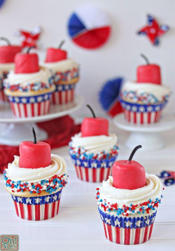 """<p>The most genius way to use marshmallows? Turn 'em into edible, family-friendly firecrackers. </p><p><a href=""""http://www.ohnuts.com/blog/firecracker-cupcakes-for-the-fourth-of-july/"""" rel=""""nofollow noopener"""" target=""""_blank"""" data-ylk=""""slk:Get the recipe from Oh! Nuts »"""" class=""""link rapid-noclick-resp""""><em>Get the recipe from Oh! Nuts »</em></a></p>"""