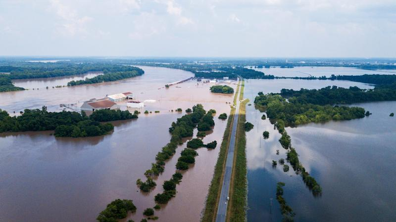 This aerial photo shows flooding along the Arkansas River in Pine Bluff, Ark., Tuesday, June 4, 2019. The economically struggling Arkansas city in the midst of a revitalization plan continued flooding Tuesday as the Arkansas River crested its banks, but local officials said even after the waters recede, the community's resilience will bolster recovery.