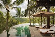 """<p>This semi-circular-edged private pool edged by jungle is at <a href=""""https://www.comohotels.com/en/comoshambhalaestate/residences/wanakasa"""" rel=""""nofollow noopener"""" target=""""_blank"""" data-ylk=""""slk:Wanakasa"""" class=""""link rapid-noclick-resp"""">Wanakasa</a> (which means forest in the mist), a five-star treehouse overlooking the Ayung River on the Como Shambhala Estate in Ubud.</p>"""