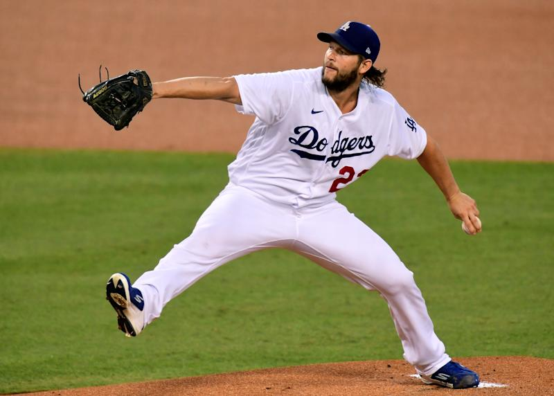 LOS ANGELES, CALIFORNIA - SEPTEMBER 25: Clayton Kershaw #22 of the Los Angeles Dodgers pitches during the first inning against the Los Angeles Angels at Dodger Stadium on September 25, 2020 in Los Angeles, California. (Photo by Harry How/Getty Images)