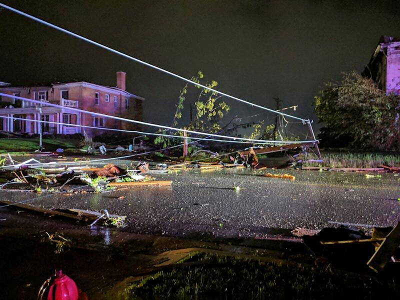 This image posted on Twitter account of Stechshultsy shows tornado-hit Jefferson City. Mo.,May 23, 2019. (Photo: Stechshultsy via AP)
