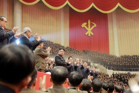 North Korean leader Kim Jong Un attends a performance held for participants of the ruling party's party meeting
