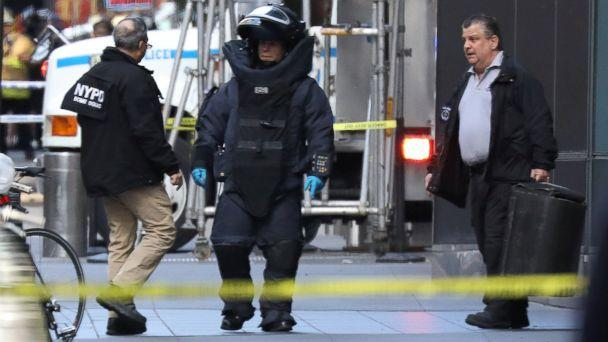 PHOTO: A member of the New York Police Department bomb squad is pictured outside the Time Warner Center in Manahattan, Oct. 24, 2018, after a suspicious package was found inside the CNN Headquarters in New York. (Kevin Coombs/Reuters, FILE)