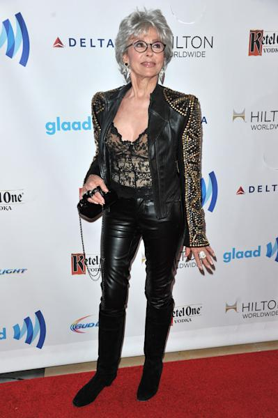Rita Moreno arrives at the 25th Annual GLAAD Media Awards on Saturday, April 12, 2014. (Richard Shotwell/Invision/AP)