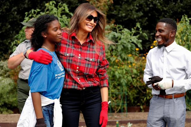 First lady Melania Trump in the White House kitchen garden with children from the Boys and Girls Clubs of Greater Washington on Sept. 22, 2017. (Photo: Reuters/Jonathan Ernst