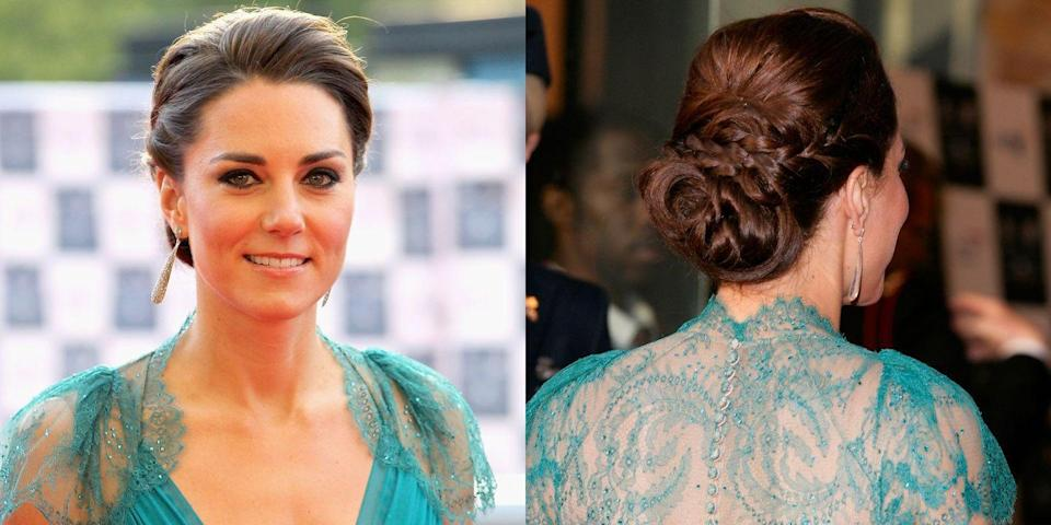 <p>A looped and coiled up-do on Kate Middleton</p>