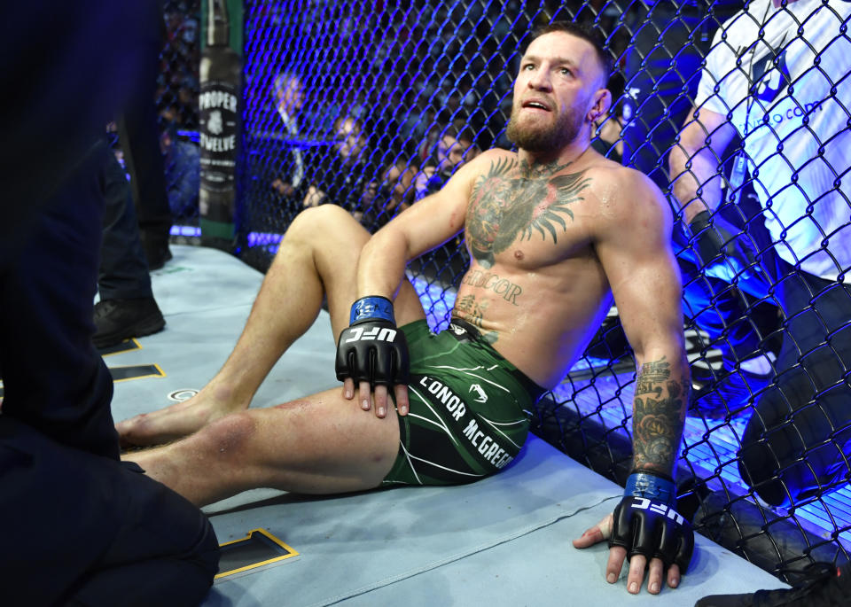 LAS VEGAS, NEVADA - JULY 10: Conor McGregor of Ireland reacts after his TKO loss due to injury against Dustin Poirier during the UFC 264 event at T-Mobile Arena on July 10, 2021 in Las Vegas, Nevada. (Photo by Chris Unger/Zuffa LLC)