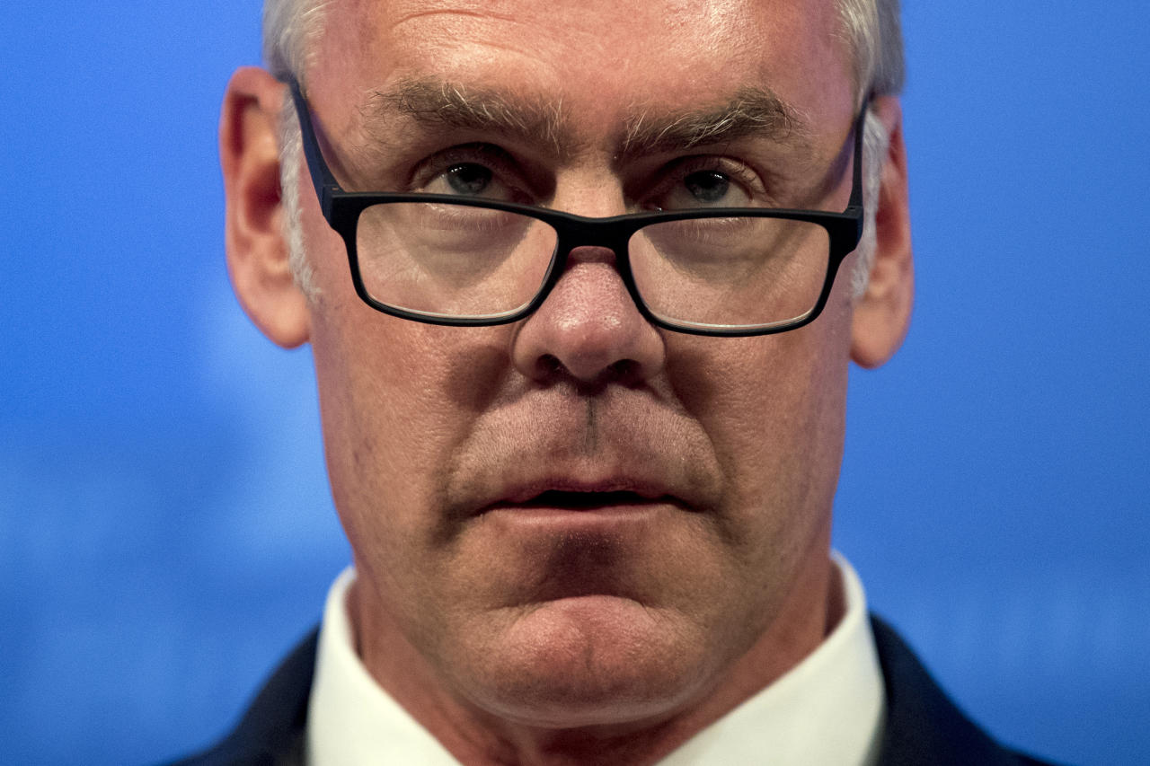 FILE - In this Sept. 29, 2017 file photo, Interior Secretary Ryan Zinke speaks on the Trump Administration's energy policy at the Heritage Foundation in Washington. A year of upheaval at the U.S. Interior Department has seen dozens of senior staff members reassigned and key leadership positions left unfilled, rules considered burdensome to industry shelved, and repeated complaints that dissenting views have been sidelined. (AP Photo/Andrew Harnik, File)