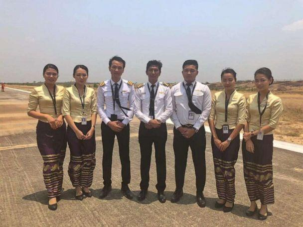 PHOTO: The crew of Flight UB103, a Myanmar National Airlines flight to Mandalay International Airport, landed without its front landing gear on Sunday, May 12, 2019. No one on the plane was injured. (Myanmar National Airlines)