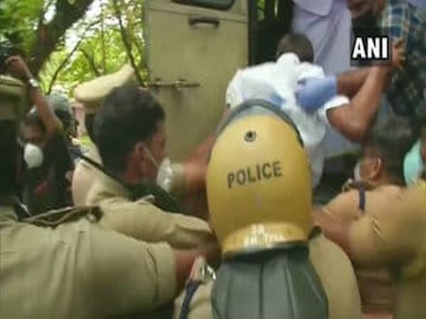 A visual from the protest site in Kerala's Kochi on Wednesday. Photo/ANI