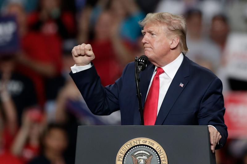 President Donald Trump pumps his fist after speaking during a campaign rally at the Huntington Center, Jan. 9, 2020, in Toledo, Ohio.