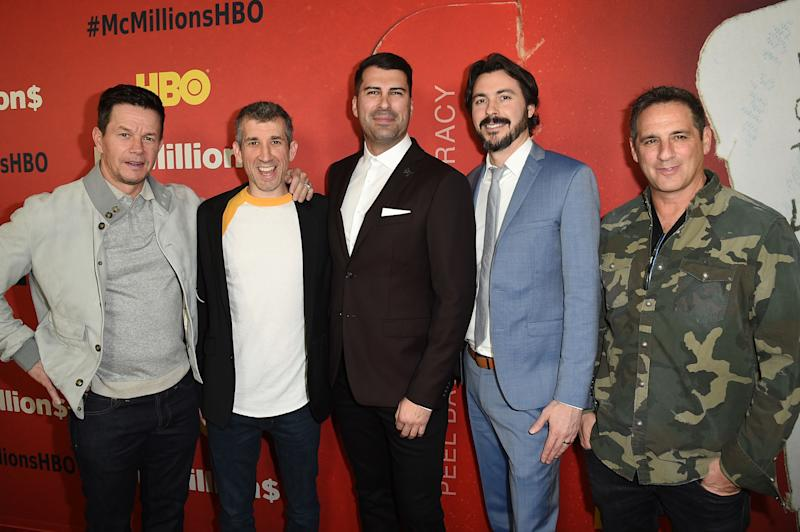 """LOS ANGELES, CA - JANUARY 30: (L-R) Mark Wahlberg, Archie Gips, James Lee Hernandez, Brian Lazarte and Stephen Levinson attend the Los Angeles Premiere Of """"McMillions"""" From HBO on January 30, 2020 in Los Angeles, California. (Photo by FilmMagic/FilmMagic for HBO)"""