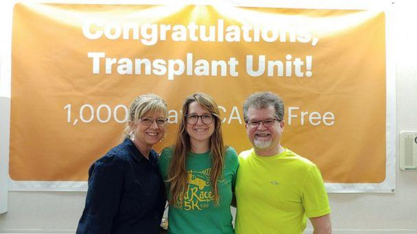 PHOTO: Annie York with parents Marsha and Jim York at Piedmont Hospital in Atlanta. (Courtesy Annie York)