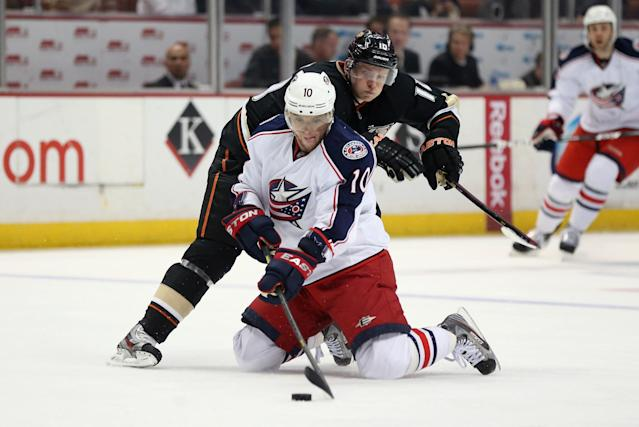 ANAHEIM, CA - APRIL 17: Marian Gaborik #10 of the Columbus Blue Jackets is pursued by Corey Perry #10 of the Anaheim Ducks for the puck in the second period at Honda Center on April 17, 2013 in Anaheim, California. (Photo by Jeff Gross/Getty Images)