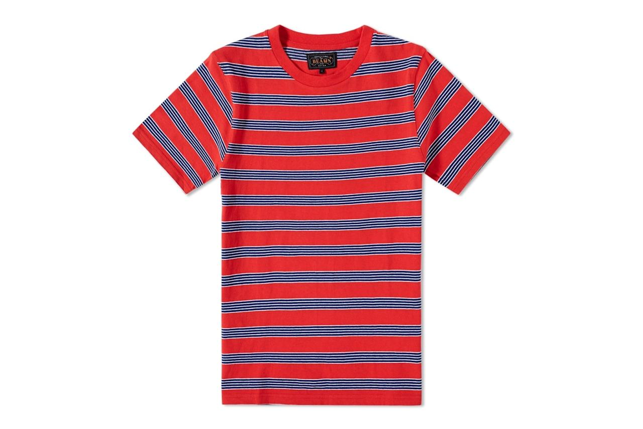 "<p><em>$75, buy now at <a rel=""nofollow"" href=""https://www.endclothing.com/us/beams-plus-multi-border-stripe-tee-1104-0568-048-35.html?mbid=synd_yahoostyle"">endclothing.com</a></em></p>"