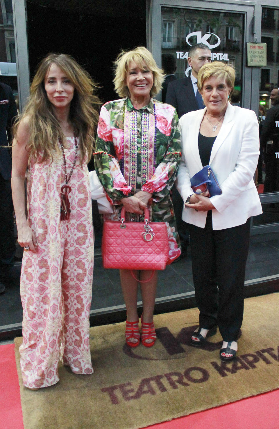 MADRID, SPAIN - MAY 16: (L-R) Maria Patino, Mila Ximenez and Chelo Garcia attend Belen Esteban's party at Kapital theatre on May 16, 2018 in Madrid, Spain.  (Photo by Europa Press/Europa Press via Getty Images)