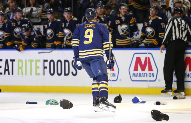 Buffalo Sabres forward Jack Eichel (9) skates to the bench afer his third goal of the night, during the third period of the team's NHL hockey game against the Ottawa Senators on Saturday, Nov. 16, 2019, in Buffalo, N.Y. (AP Photo/Jeffrey T. Barnes)