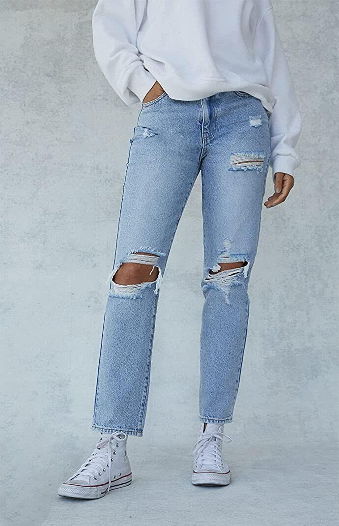 """<p><strong>PacSun</strong></p><p><strong>$59.95</strong></p><p><a href=""""https://go.redirectingat.com?id=74968X1596630&url=https%3A%2F%2Fwww.pacsun.com%2Fpacsun%2Feco-light-blue-distressed-mom-jeans-0860602180060.html&sref=https%3A%2F%2Fwww.cosmopolitan.com%2Fstyle-beauty%2Ffashion%2Fg8274845%2Fbest-gifts-teenage-girls%2F"""" rel=""""nofollow noopener"""" target=""""_blank"""" data-ylk=""""slk:Shop Now"""" class=""""link rapid-noclick-resp"""">Shop Now</a></p><p>Jeans are cool, but frayed ones like these, my friend, are even <em>cooler</em>. </p>"""