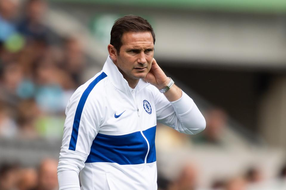 MOENCHENGLADBACH, GERMANY - AUGUST 03: Head coach Frank Lampard of FC Chelsea looks on during the pre-season friendly match between Borussia Moenchengladbach and FC Chelsea at Borussia-Park on August 3, 2019 in Moenchengladbach, Germany. (Photo by TF-Images/Getty Images)