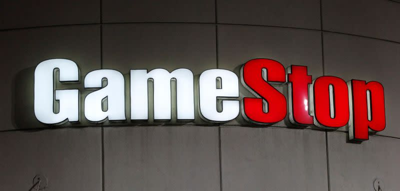 FILE PHOTO: A GameStop sign is pictured in Pasadena, California