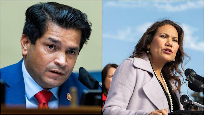 Reps. Jimmy Gomez (D-Calif.), left, and Veronica Escobar (D-Texas) used a video call with Democratic donors to ask for help against progressive primary challengers. (Photo: Getty Images)