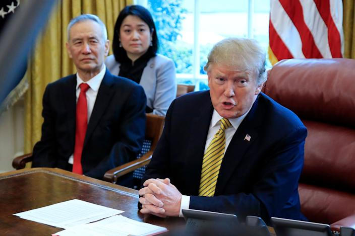 President Donald Trump speaks to reporters during a meeting with China's Vice Premier Liu He in the Oval Office of the White House in April. (Photo: Manuel Balce Ceneta/AP)