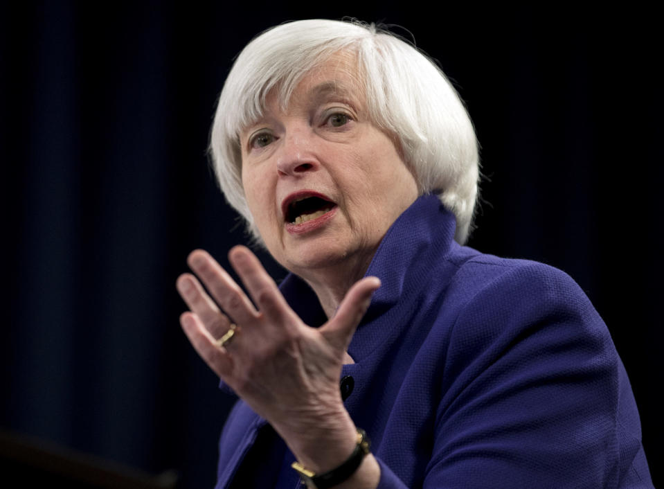 """FILE - This Dec. 13, 2017, file photo shows Federal Reserve Chair Janet Yellen speaking during a news conference following the Federal Open Market Committee meeting in Washington. Treasury Secretary Janet Yellen said Friday, March 5, 2021 that despite the strong job gains last month, Congress still needs to """"go big"""" by passing President Joe Biden's $1.9 trillion relief package to get millions of people back to work sooner. (AP Photo/Carolyn Kaster, File)"""