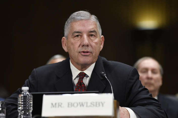FILE - In this Tuesday, Feb. 11, 2020 file photo, Big 12 Conference Commissioner Bob Bowlsby testifies during a Senate Commerce subcommittee hearing on Capitol Hill in Washington on intercollegiate athlete compensation. The Big 12 Conference is distributing about $345 million of revenue to its 10 schools, the second year in a row the number has been lower because of the COVID-19 pandemic. Commissioner Bob Bowlsby said Tuesday, May 25, 2021 at the end of two days of league board meetings held virtually, that the overall revenue was about $50 million short of what had been expected before COVID-19. (AP Photo/Susan Walsh, File)