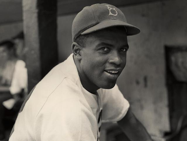 Jackie Robinson in uniform with the Brooklyn Dodgers, circa 1945. (Photo by Hulton Archive/Getty Images)