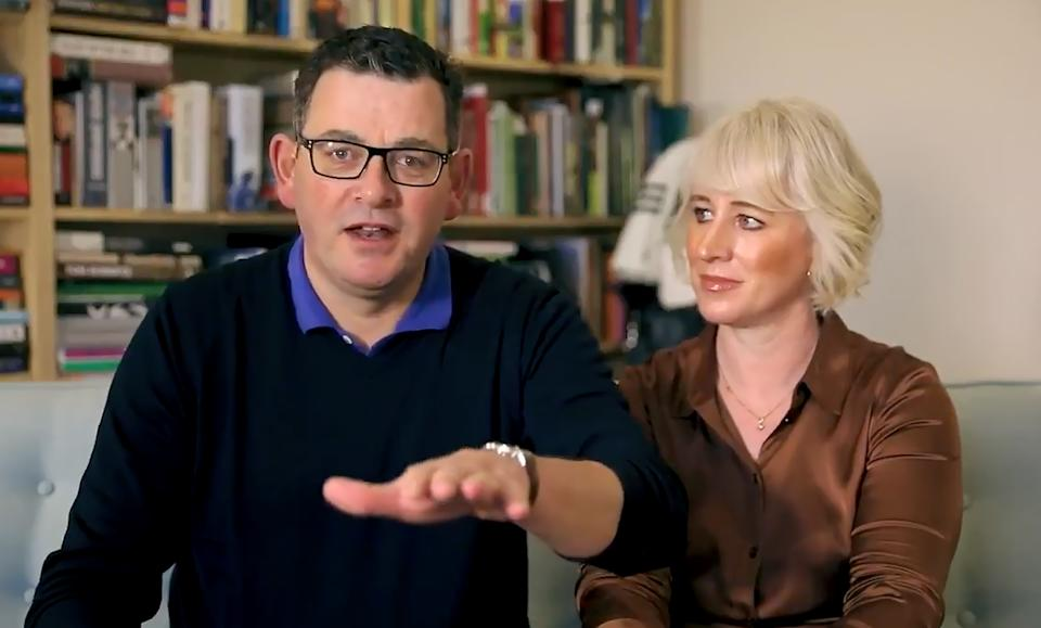 Daniel Andrews and his wife Catherine shared a video message prior to his return. Source: AAP Image/Supplied by Daniel Andrews MP Social Media